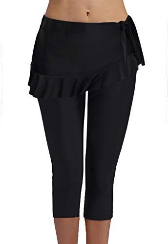 - FanShou Women Capris Swim Pants Tights Sport Athletic Swimming Surfing Leggings Sun Protection (Black, Large)