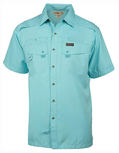 Hook & Tackle Men's Seacliff 2.0 Short Sleeve Fishing Shirt Turquesa Medium