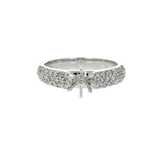 0.50 CT Diamond Semi Mount Engagement Ring In 14K White Gold Size 7