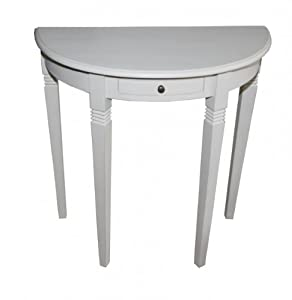 Delightful Casa Padrino Console Table With Drawers Antique White   Half Moon Table    Secretary Console   Telephone Table