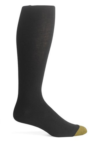 Gold Toe Men's ADC Aquafx Jersey Over the Calf Dress Sock, 10-13 Black