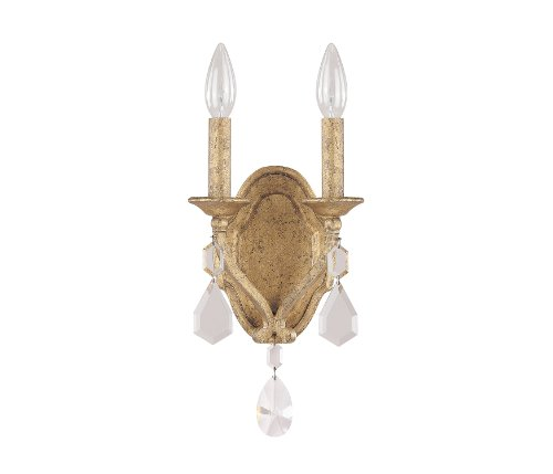 Capital Lighting 1617AG-CR Blakely 2-Light Wall Sconce, Antique Gold Finish with Clear Crystal Accents