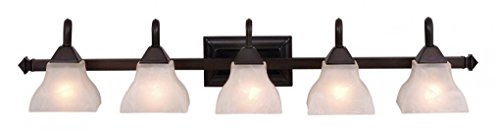 Vaxcel Five Light Bathroom Light VL26305OBB Five Light Bathroom Light - Five light bathroom light from the Cardiff collection Height: 7.75 inches Width: 40.75 inches Style: traditional light Type: bathroom light - bathroom-lights, bathroom-fixtures-hardware, bathroom - 31RRFD1GlYL -