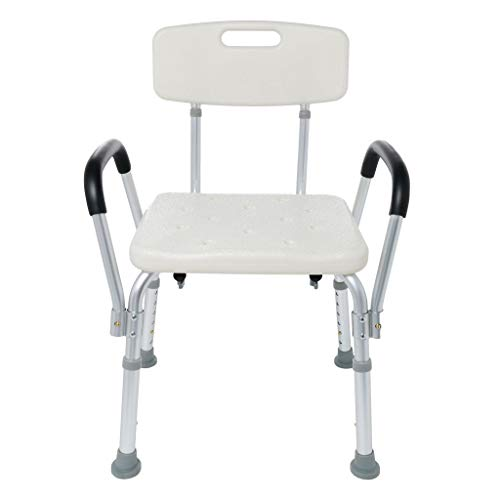 XBKPLO Shower Chair Bath Seat with Padded Armrests, Medical Tool-Free Assembly Spa Bathtub Adjustable Shower Chair Seat Bench, Adjustable Height Bath Stool, Great for Bathtubs, White