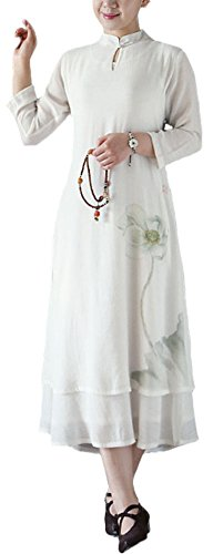 Plaid&Plain Women's Vintage Han Chinese Clothing 3/4 Sleeve Long Shift Dress White-2 freesize (Han Chinese Clothing compare prices)
