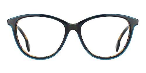 TIJN Cat Eye Acetate Optical Frame Eyeglasses Designer Glasses for Women (I, - Green I Glasses