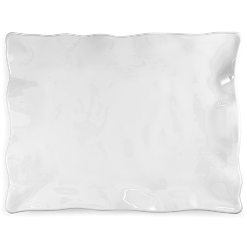 Q Squared Ruffle BPA-Free Melamine Small Rectangle Serving Platter, 15-Inches by 12-Inches, White
