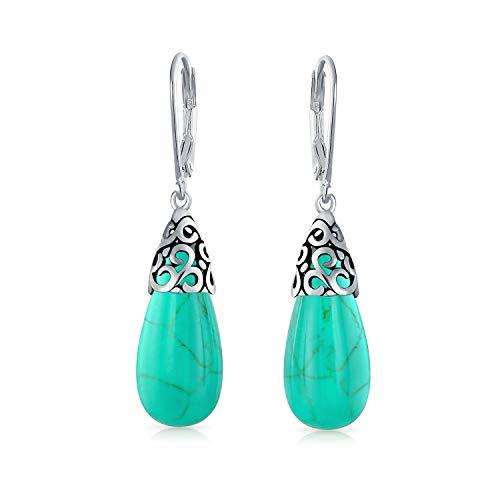 (Bali Style Gemstone Enhanced Turquoise Elongated Teardrop Filigree Leverback Dangle Earrings For Women Sterling Silver)