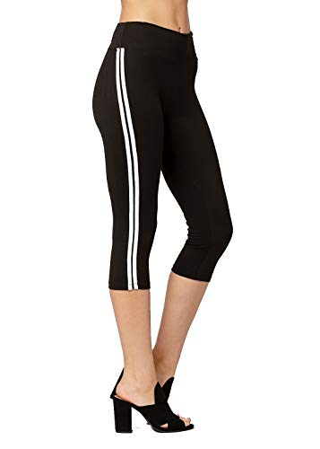 Conceited Super Soft High Waisted Leggings for Women - Capri Stripe Black - Small/Medium (0-10)