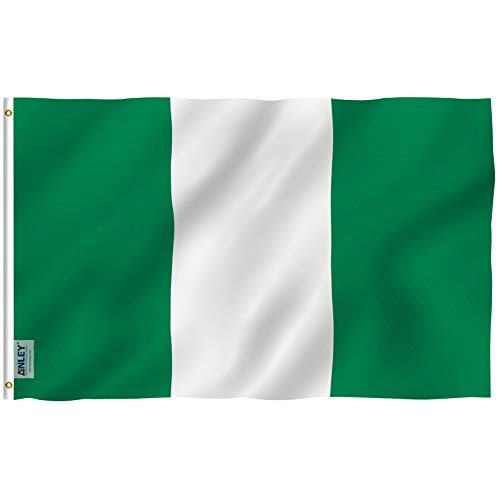 Anley [Fly Breeze 3x5 Foot Nigeria Flag - Vivid Color and UV Fade Resistant - Canvas Header and Double Stitched - Nigerian National Flags Polyester with Brass Grommets 3 X 5 Ft