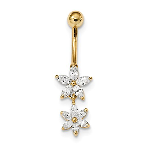 ICE CARATS 14k Yellow Gold Cubic Zirconia Cz 2 Flower Dangle Belly Band Ring Body Naval Fine Jewelry Gift Set For Women Heart by ICE CARATS (Image #1)