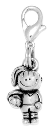 Clayvision Soccer Girl with Ball Charm Zipper Pull for bracelets and (Soccer Zipper Pull)