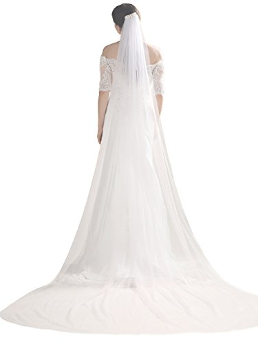 Bridalvenus Wedding Veil and Headpieces Bridal Cathedral Veil Chapel Veil with Comb (118 inches, One Tiers Veil) (ivory) (Veil Tulle)