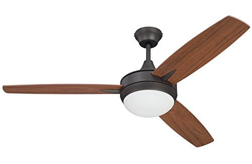 - Craftmade 3 Blade Ceiling Fan with Dimmable LED Light and Wall Control TG52ESP3 Targas 52 Inch Espresso