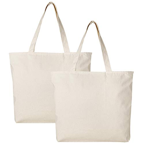 PACK OF 2 Heavy Canvas Reusable Plain Large Tote Bags with Zipper Top and Zipper Inside Pocket, Art and Craft Beach Travel Tote Bags by BagzDepot - TG261 (Canvas Zipper Tote)