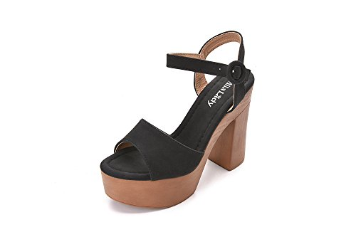 Evoking Chic Styles Ankle Strap Adjustable Buckle Chunky Heeled Sandals Platform Sole Shoes for Women, Loleta Black Size 6.0