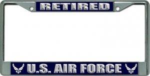 U.S. Air Force Retired New Logo Chrome License Plate Frame
