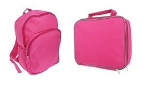 Unisex Kinder Erwachsene einfarbig verstellbarer Gurt Rucksack mit Front / Seitentaschen & Isolierte Brotdose Satz Rosa