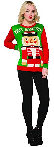 (Forum Men's Ugly Christmas Sweater, Nut Buster, red/Green,)