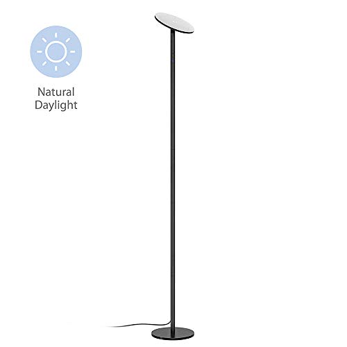 TROND LED Torchiere Floor Lamp, Modern Pole Light Dimmable 30W, 5500K Natural Daylight (Not Warm Yellow), Max. 5000lm, 71-Inch, 30-Minute Timer (Black)