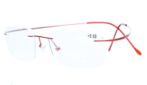 Eyekepper Titanium Rimless Reading Glasses Readers Women Red