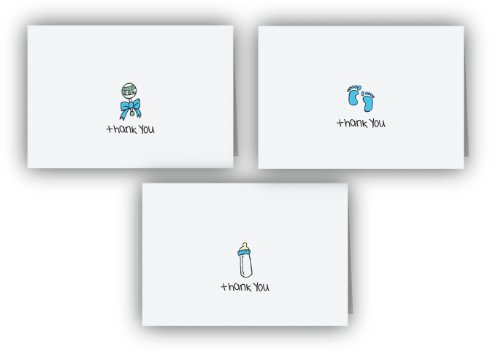 Blue Baby Thank You Cards Collection - 24 Cards & Envelopes - Baby Boy Postage