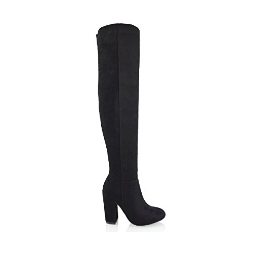 ESSEX GLAM Womens Over The Knee High Block Heel Ladies Thigh High Boots Black Faux Suede diDwd6J