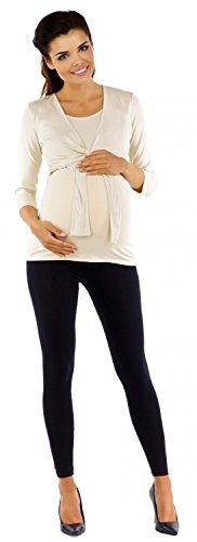Zeta Ville Premamá - Camiseta de lactancia efecto 2 en 1 - para mujer - 619c Beige