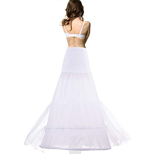 Womens 2 Laygers Floor Length Trumpet Mermaid Wedding Dress Petticoat for Bridal Evening Party White (Tulle Bottom)