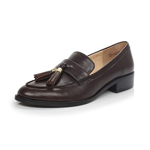 DUNION Women's Bertha Comfortable Tassel Slip Low Heels Almond Toe Casual Penny Loafers,Bertha Coffee,7.5 M US