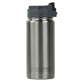 EcoVessel PERK TriMax Insulated Vacuum Stainless Steel Coffee/Tea Travel Bottle with Locking Top - Silver Coffee Mug 16 oz