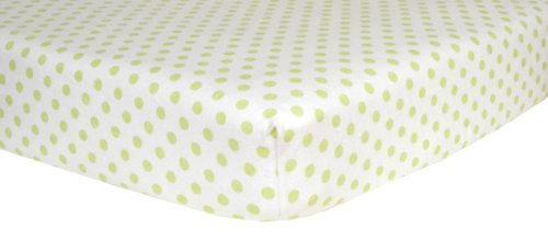 Sage Dots Bedding (Trend Lab Print Flannel Crib Sheet, Sage Green and White Dot)