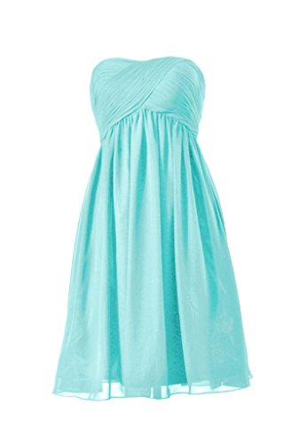 DaisyFormals Short Strapless Chiffon Bridesmaid Dress(BM10821S)- Tiffany Blue