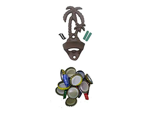 Cast Iron Wall Mounted Bottle Opener Palm Tree, Vintage Bottle Opener, Beer Opener Wall Mount With Beer Cap Catcher (vintage bottle opener + round -