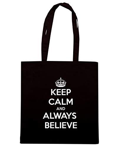 KEEP AND Speed TKC0324 ALWAYS Borsa BELIEVE Shirt CALM Shopper Nera wqv6cvXR