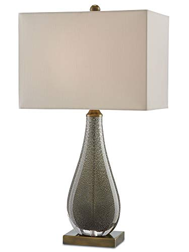 Currey and Company 6000-0026 Nightfall - One Light Table Lamp, Charcoal Brown/Antique Brass Finish with Honey Beige Shantung Shade (Table Currey Lamp Rectangular)