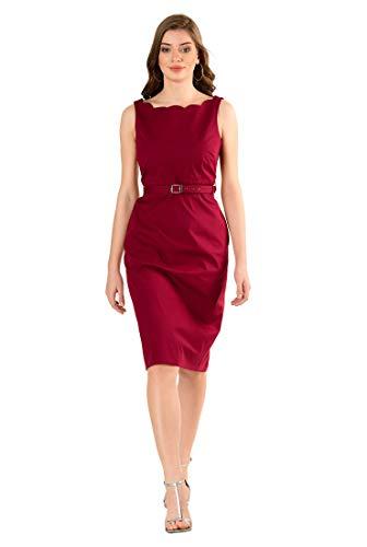 eShakti FX Scallop Trim Cotton poplin Belted Sheath Dress Haute red ()