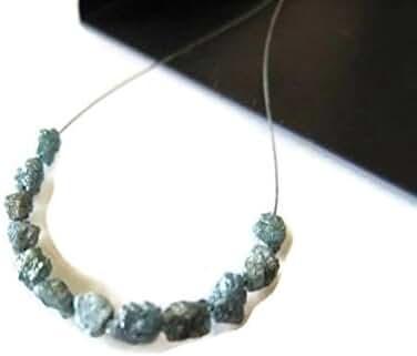 1 Carat Tiny 3mm To 4mm Raw Rough Blue Diamond Oval Tumbles Beads, Natural Uncut Loose Diamond