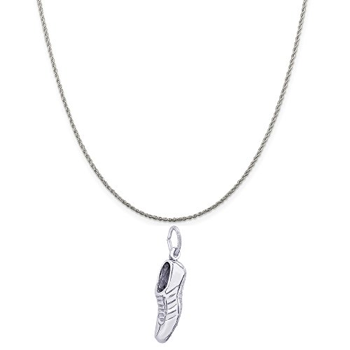 Rembrandt Charms Sterling Silver Track Shoe Charm on a Sterling Silver Rope Chain Necklace, 20
