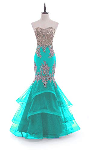 (Linabridal Women's Mermaid Long Evening Dress Sweetheart Formal Prom Dresses with Crystals Embroidery Light Blue 4)