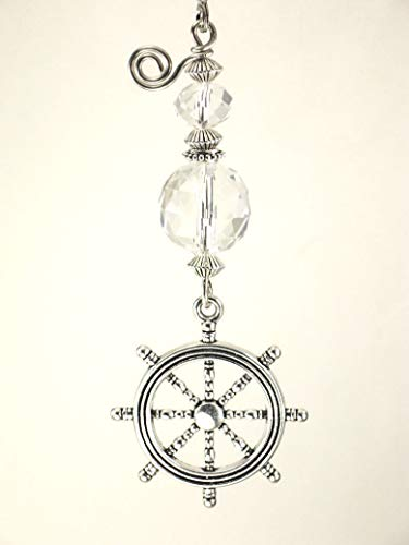 Silvery Ship's Wheel and Crystal Clear Faceted Glass Helm Ceiling Fan Pull ()
