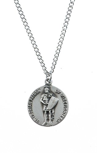 Pewter Saint St Florian Patron of Firefighters Dime Size Medal Pendant, 3/4 Inch ()