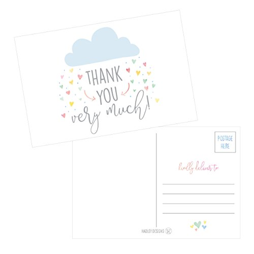 50 4x6 Rain Clouds Blank Thank You Postcards Bulk, Cute Modern Baby Shower Sprinkle Rainbow Showered With Love Thank You Note Card Stationery For Wedding Bridesmaid Bridal, Religious, Holiday]()