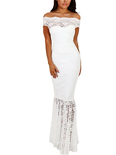 Elapsy Womens Sexy Off Shoulder Bardot Lace Evening Gown Fishtail Maxi Dress White X-Large (Long Lace Stretch Gown)