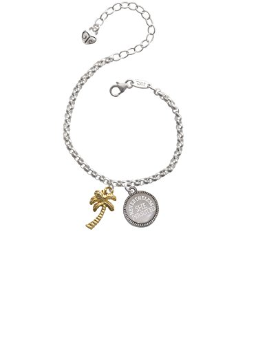 (Gold Tone Palm Tree Nevertheless She Persisted Engraved Bracelet )
