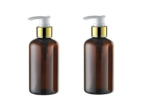 2PCS 220ML Plastic Round Shoulder Pump Bottles-PET Brown Cosmetic Bath Shower Shampoo Hair-Conditioner Liquid Storage Containers With Screw Pump