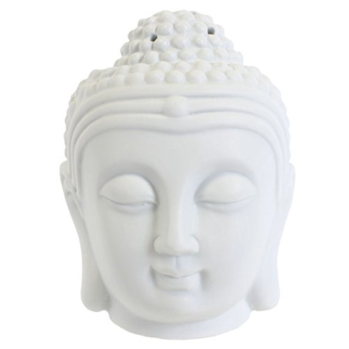 White Thai Buddha Head Oil Burner Ornament Feng Shui Aromatherapy Ceramic Lamp Unknown