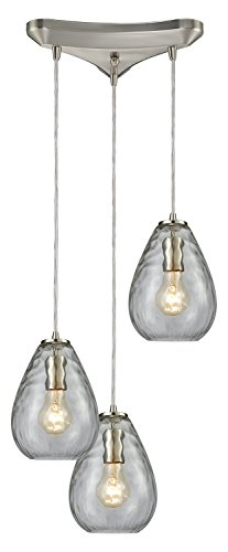 - Lagoon 3-Light Triangle Pan in Satin Nickel with Clear Water Glass Pendant