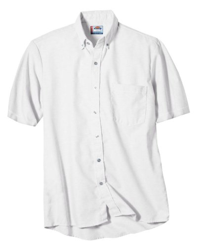 Sleeve Oxford Shirt Dickies Short - Dickies Occupational Workwear SS46WH 145 Polyester/Cotton Men's Button-Down Short Sleeve Oxford Shirt, 14-1/2