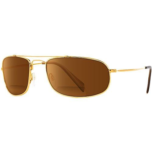 ONO'S PYRAMID POLARIZED SUNGLASSES w/ AMBER BI-FOCAL READER LENS GOLD SIZE - With In Readers Built Sunglasses Polarized